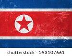 north korean flag on old grunge ... | Shutterstock . vector #593107661