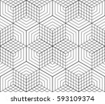 cubes  hexagons and rhombs... | Shutterstock .eps vector #593109374