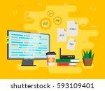 flat style modern vector... | Shutterstock .eps vector #593109401