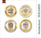 luxury retro golden badges... | Shutterstock .eps vector #593110091