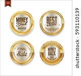 luxury retro golden badges... | Shutterstock .eps vector #593110139