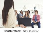 team of male and female trainee ... | Shutterstock . vector #593110817