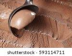 scooping chocolate ice cream...   Shutterstock . vector #593114711