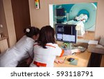 mri machine and screens with... | Shutterstock . vector #593118791
