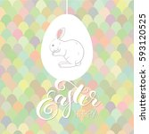 happy easter card with... | Shutterstock .eps vector #593120525