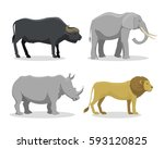 cute cartoon safari animals... | Shutterstock .eps vector #593120825