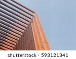 wood battens of modern building | Shutterstock . vector #593121341