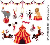 circus elements set  tent ... | Shutterstock .eps vector #593126147