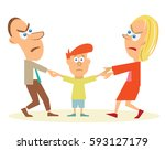 divorcing parents arguing over... | Shutterstock .eps vector #593127179