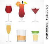 vector image of alcohol icons. | Shutterstock .eps vector #593130479