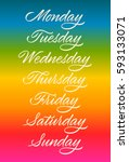 days of week  handwritten words ... | Shutterstock .eps vector #593133071