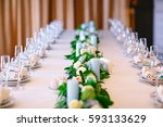 wedding table settings. | Shutterstock . vector #593133629