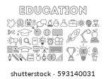education icon set on white... | Shutterstock .eps vector #593140031