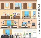 motel interior set. guest room  ... | Shutterstock .eps vector #593140061