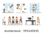 prenatal clinic set. isolated... | Shutterstock .eps vector #593140535