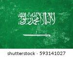 saudi arabia   flag on old... | Shutterstock . vector #593141027