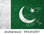 pakistan   pakistani flag on... | Shutterstock . vector #593141057
