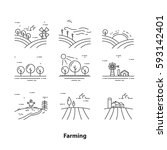 farm landscape icons  thin line ... | Shutterstock .eps vector #593142401
