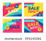 set of colorful trendy sale... | Shutterstock .eps vector #593145281