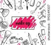 set of make up hand drawn... | Shutterstock .eps vector #593149337