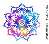 elephant watercolor. frame of...   Shutterstock .eps vector #593149469