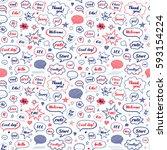 hand drawn set of speech... | Shutterstock .eps vector #593154224