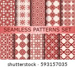 collection of seamless... | Shutterstock .eps vector #593157035