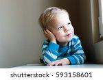 portrait of little  dreamy ... | Shutterstock . vector #593158601