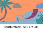 beach summer illustration | Shutterstock . vector #593175281