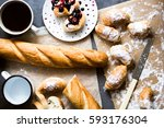 freshly baked bread and... | Shutterstock . vector #593176304