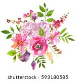 pink flowers watercolor round... | Shutterstock . vector #593180585
