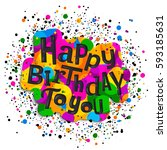 happy birthday greeting card.... | Shutterstock .eps vector #593185631