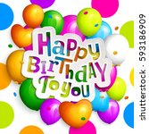 happy birthday greeting card.... | Shutterstock .eps vector #593186909