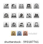 communications icons   the... | Shutterstock .eps vector #593187761
