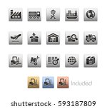 industry and logistics icons  ... | Shutterstock .eps vector #593187809