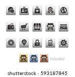 online store icons   the vector ... | Shutterstock .eps vector #593187845