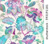 spring floral seamless pattern. ... | Shutterstock .eps vector #593191181
