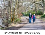 people walking in forest on... | Shutterstock . vector #593191709