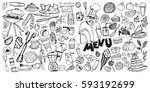 hand drawn food elements. set... | Shutterstock .eps vector #593192699