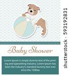 baby shower invitation card... | Shutterstock .eps vector #593192831
