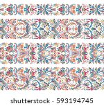 set of seamless vintage border... | Shutterstock .eps vector #593194745