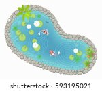 vector illustration. pond with... | Shutterstock .eps vector #593195021