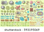 set of landscape elements.... | Shutterstock .eps vector #593195069
