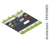 isometric urban traffic... | Shutterstock .eps vector #593196851
