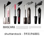 realistic cosmetic mascara... | Shutterstock .eps vector #593196881