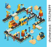 isometric automated production... | Shutterstock .eps vector #593196899