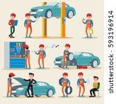 car service elements set with... | Shutterstock .eps vector #593196914