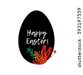 happy easter greeting card.... | Shutterstock .eps vector #593197559