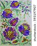 decorative flowers | Shutterstock . vector #593197907
