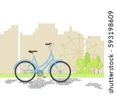 blue retro bicycle on city... | Shutterstock .eps vector #593198609